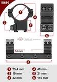 Sportsmatch 11mm dovetail 25,4mm Dampa montage DM60 hoog (32mm)_