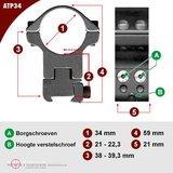 Sportsmatch 11mm dovetail 34mm Montage ATP34 hoog (38mm) verstelbaar in hoogte_