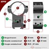 Sportsmatch picatinny/waever ATP90 Montage 30mm verstelbaar in breedte en hoogte (38,5-41mm)_