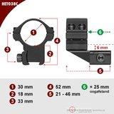 Sportsmatch HETO68C picatinny/waever 30mm Voorwaartse Montage Hoog (33mm)_