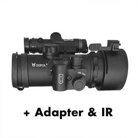Dipol DN37 PRO voorzet nachtkijker Gen 2+ front Sniper zwart-wit, incl. adapter en IR laser