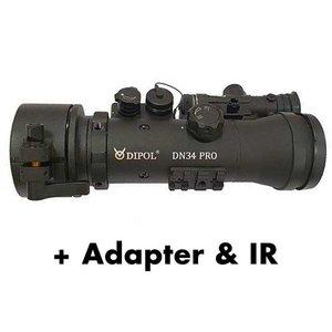 Dipol DN34 PRO voorzet nachtkijker Gen 2+ front Sniper zwart-wit, incl. adapter en IR laser